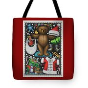 Page 1 Of 2 Teddy Bear Santa Claus Paper Doll Tote Bag