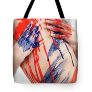 Paint On Woman Body Tote Bag