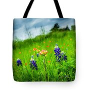 Paintbrush And Bonnets Square Tote Bag