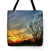 Painted Autumn Sunset Tote Bag