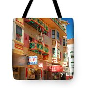 Painted Balconies In San Francisco Chinatown Tote Bag