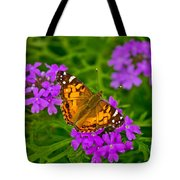 Painted Lady On Purple Verbena Tote Bag