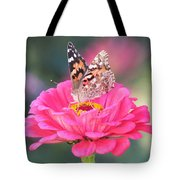 Painted Lady On Red Zinnia 3  Tote Bag