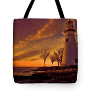 Painted Marblehead Lighthouse Tote Bag