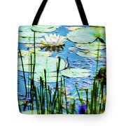 Painted North American White Water Lily Tote Bag