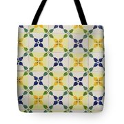 Painted Patterns - Floral Azulejo Tiles In Blue Green And Yellow Tote Bag