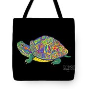 Painted Peace Turtle Too Tote Bag
