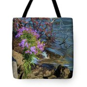 Painted River Flower Tote Bag