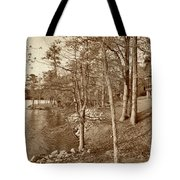 Painted Shore Camps In Sepia Tote Bag