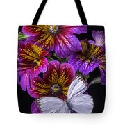 Painted Tongue With White Butterfly Tote Bag