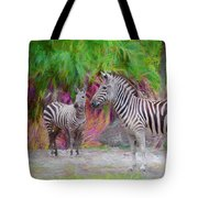 Painted Zebra Tote Bag
