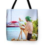 Painter At Work, Holetown Beach, Barbados Tote Bag