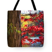 Painterly Rendition Of Red Leaves And Tree Trunk In Autumn Tote Bag