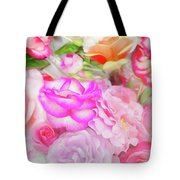 Painterly Tea Party With Fresh Garden Roses II Tote Bag