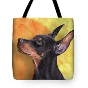 Painting Of A Cute Doberman Pinscher On Orange Background Tote Bag