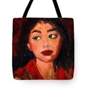 Painting Of A Dark Haired Girl Commissioned Art Tote Bag