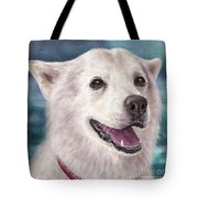 Painting Of A White And Furry Alaskan Malamute Tote Bag