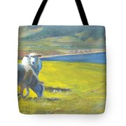 Painting Of Sheep On A Cliff Top Tote Bag
