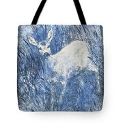 Painting Of Young Deer In Wild Landscape With High Grass. Graphic Effect. Tote Bag