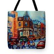 Paintings Of Montreal Hockey On Fairmount Street Tote Bag