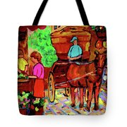 Paintings Of Montreal Streets Old Montreal With Flower Cart And Caleche By Artist Carole Spandau Tote Bag