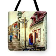 Paintings Of Quebec Landmarks Aux Anciens Canadiens Restaurant Rainy Morning October City Scene  Tote Bag