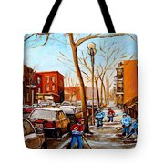 Paintings Of Verdun Streets In Winter Hockey Game Near Row Houses Montreal City Scenes Tote Bag by Carole Spandau