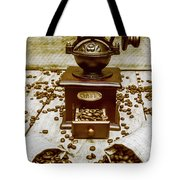 Pair Coffee Bean Bags Spilled In Front Of Grinder Tote Bag
