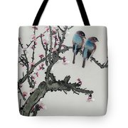 Pair Of Birds On A Cherry Branch Tote Bag