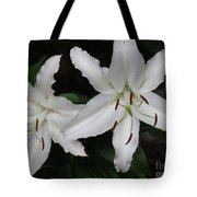 Pair Of Flowering White Stargazer Lilies In Bloom Tote Bag