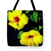 Pair Of Golden Hibiscus In Morning Sun Tote Bag