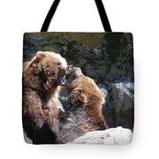 Pair Of Grizzly Bears Biting At Each Other Tote Bag