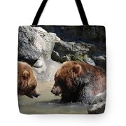 Pair Of Grizzly Bears Wading In A Shallow River Tote Bag