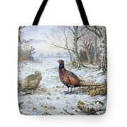 Pair Of Pheasants With A Wren Tote Bag by Carl Donner