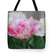 Pale Pink And White Parrot Tulips In A Garden Tote Bag