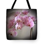 Pale Pink Orchids B W And Pink Tote Bag