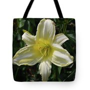 Pale Yellow Flowering Lily Blossom In A Garden Tote Bag