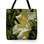 Pale Yellow Lily In A Garden Of Daylilies Tote Bag