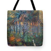 Palm And Egret Tote Bag