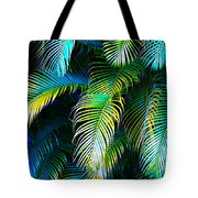 Palm Leaves In Blue Tote Bag