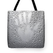 Palm Print On Wet Metal Surface Tote Bag