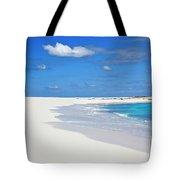Palm Tree And Sandy Beach Tote Bag