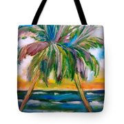 Palm Tree Color Times Two Tote Bag