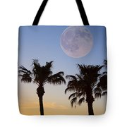 Palm Tree Full Moon Sunset Tote Bag