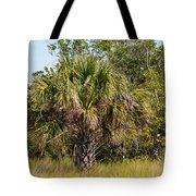 Palm Tree In Golden Grass Tote Bag