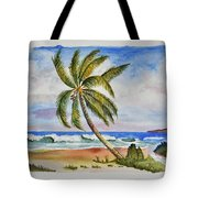 Palm Tree Ocean Scene Tote Bag