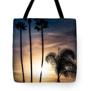 Palm Tree Sunset Silhouette Tote Bag