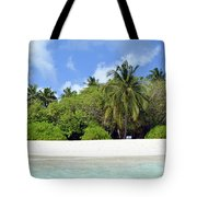 Palm Trees And Exotic Vegetation On The Beach Of An Island In Maldives Tote Bag