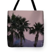 Palm Trees And Mountains At Sunset #1 Tote Bag