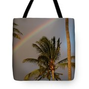Palm Trees And Rainbow Tote Bag